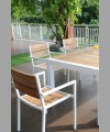 Sonoma Stack.Arm Chair Alu Wite With Recycled Teak
