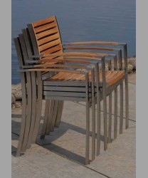Milano Stacking Arm Chair Teak Slat