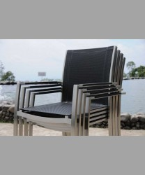 Rivoli Stacking Arm Chair Stainless Steel Batyline